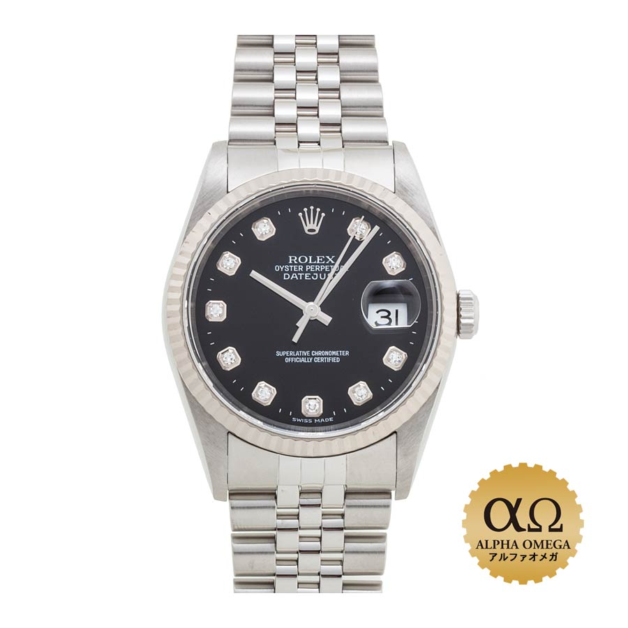 cheap for discount 23046 5c8dd Black dial 2002 Y turn with Rolex date just Ref.16234G stainless steel  white gold bezel diamond