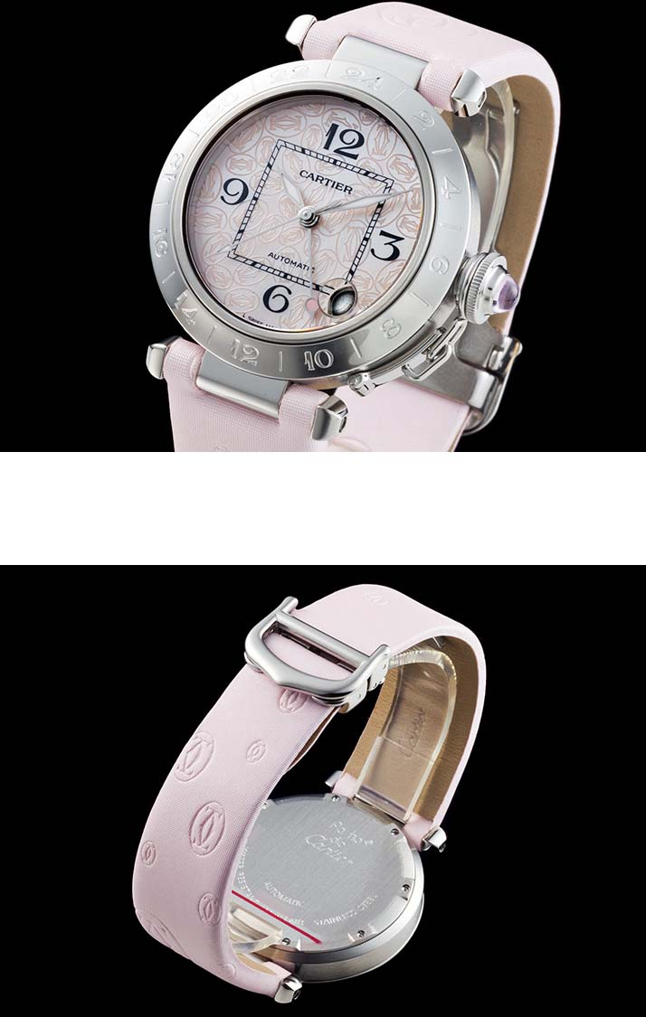 까르띠에 파샤 C GMT Ref.W3107C99 핑크 셸 전화 2004 년 크리스마스 한정 모델 (CARTIER PASHA C GMT Ref.W3107C99 PINK SHELL DIAL LIMITED EDITION Ca. 2004)