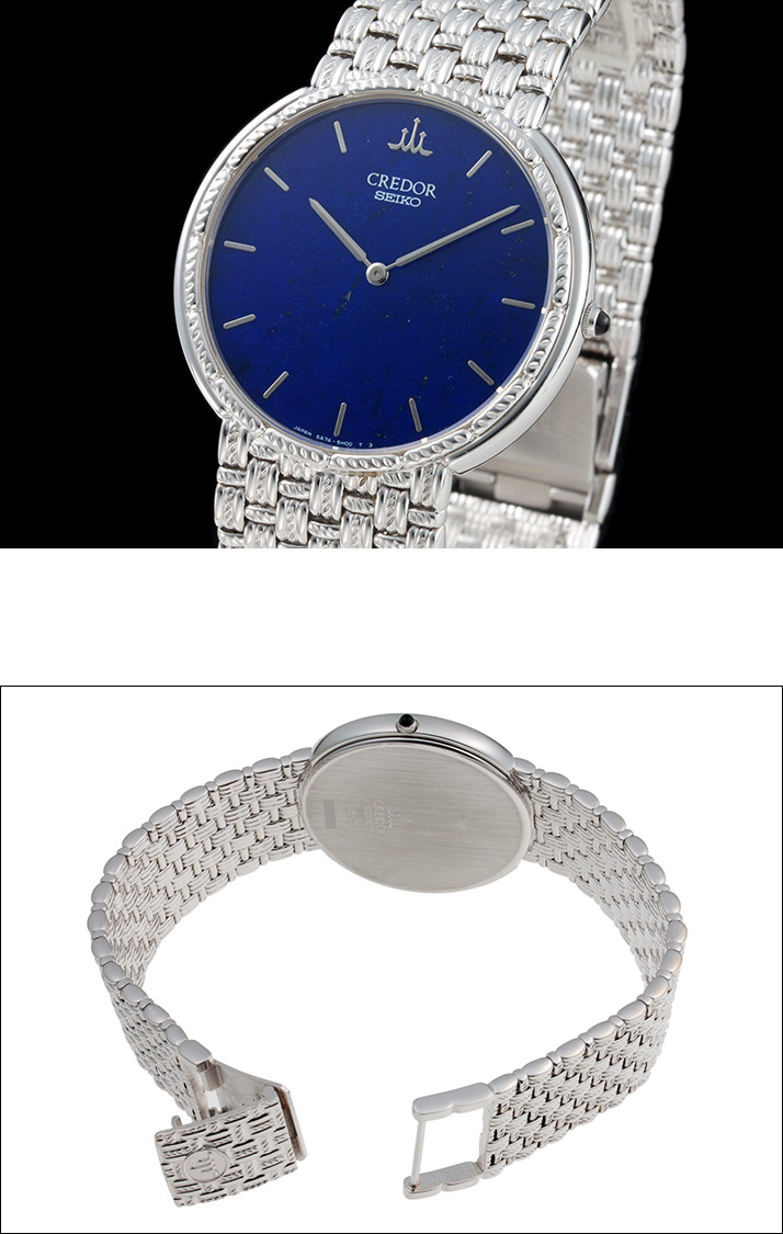Seiko credor integral model G Group Ref.5A74-2D40, GBJX095 lapis lazuli dial WG 1998