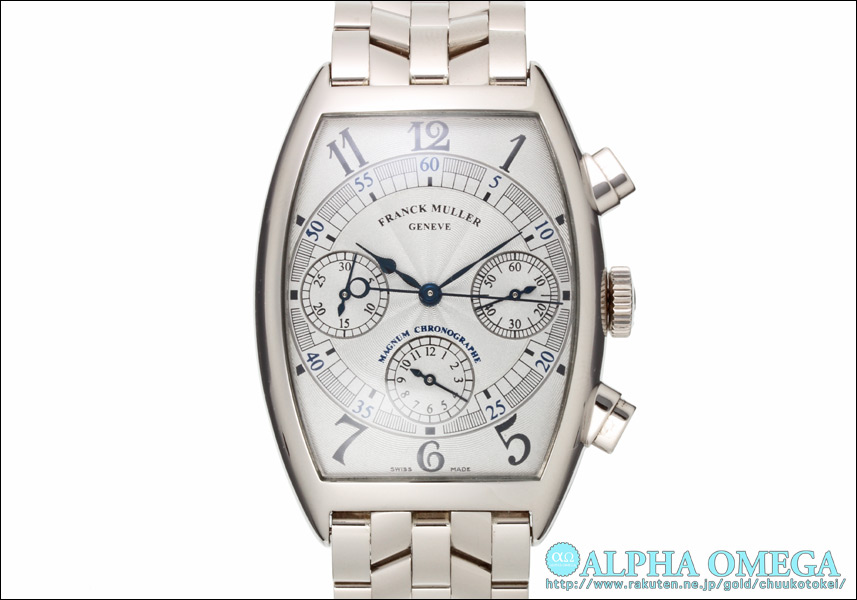 Frank Muller tonneau chronograph Ref.6850 CC MAGNUM Silver Dial early model 1999