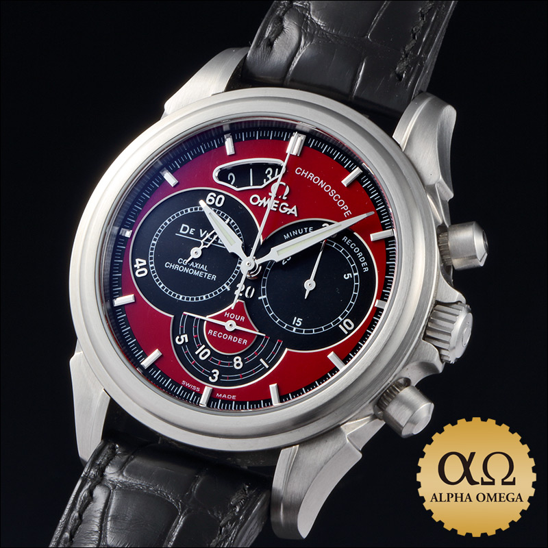 Omega-de building co-axial Chronoscope Ref.4851.61.31 red dial stainless steel 2009