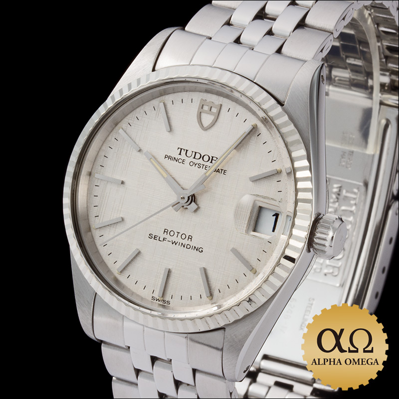 Tudor Prince Oyster date Ref.72034 SS white gold silver mosaic dial, 1991