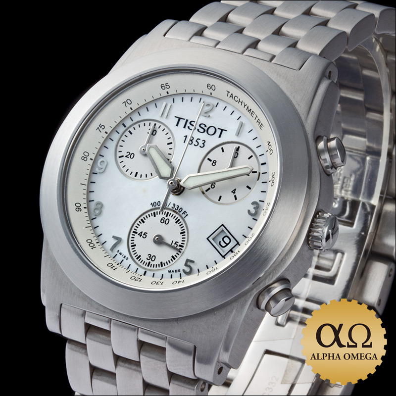 Tissot T classic chronograph shell dial stainless steel 2000's
