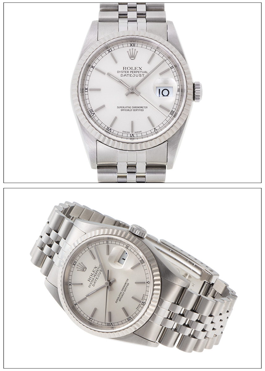 Rolex date just Ref.16234 SS white gold bezel silver dial 1999