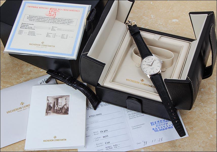 바 쉐 론 콘스탄틴 크로 노 미터 로얄 Ref.47021/000G 화이트 골드 다이아 들어가고 실버 다이얼 1998 년