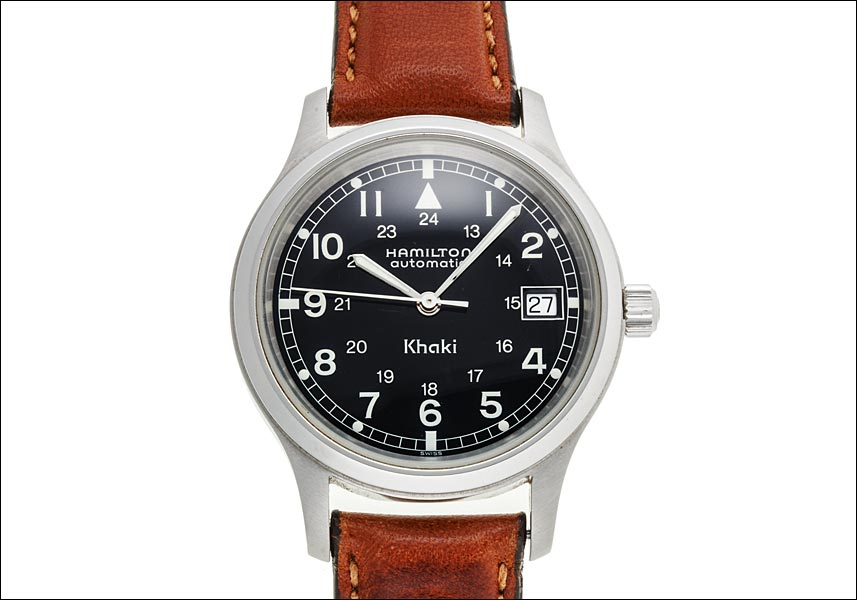 Hamilton khaki field automatic Ref.9721B stainless steel black dial see-through back