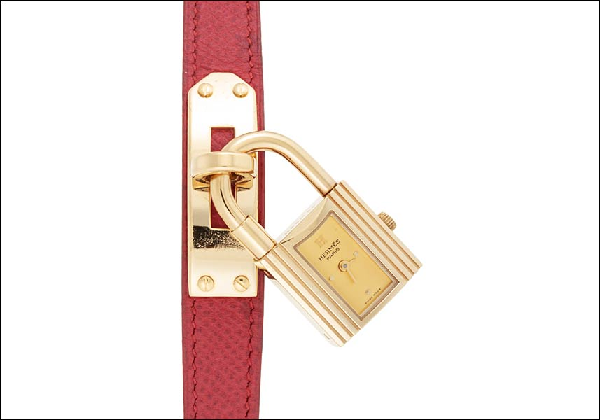 17bfbb11c7b ... authentic hermes kelly watch ref.ke1 .201 gold plating gold dial 1995 y  turn
