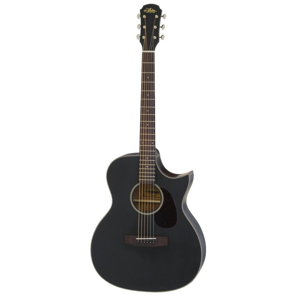 ARIA 101CE MTBK Cutaway Electric リッターケース付き エレクトリックアコースティックギター