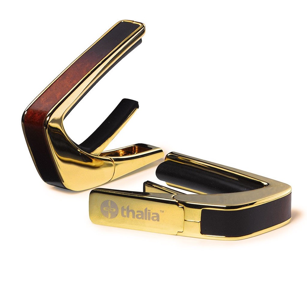 Thalia Capo 200 in 24k Gold Finish with Tobaccoburst Birdseye Maple Inlay カポタスト
