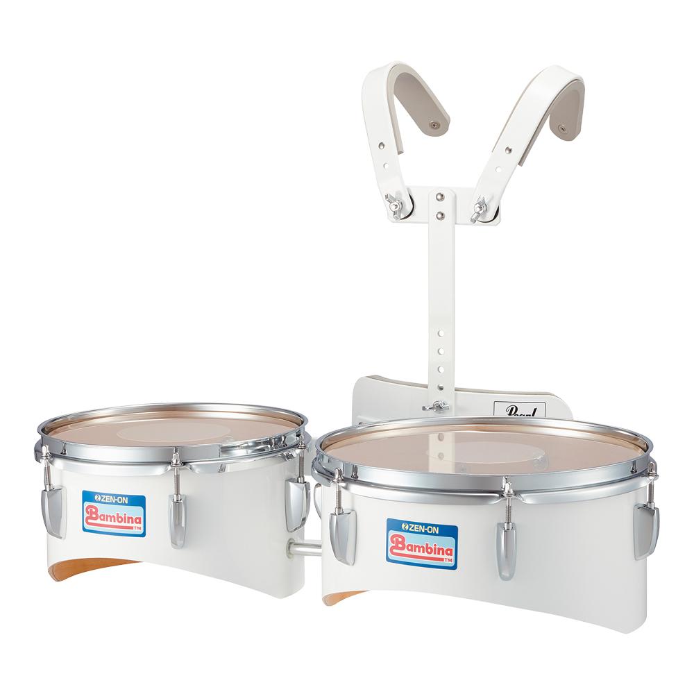 全音 PG-302W バンビーナ マーチング デュオドラム 白 キャリングホルダー付き