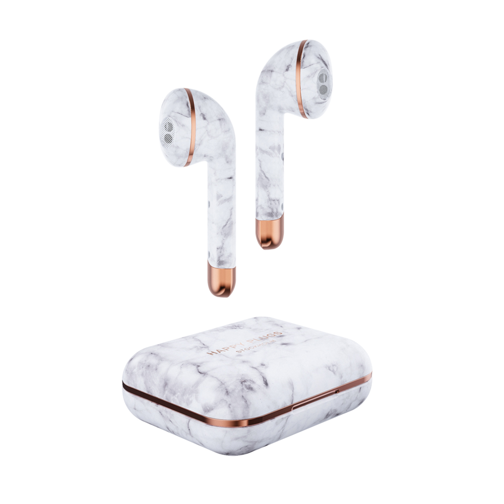 HAPPY PLUGS AIR1 LIMITED EDITION WHITE MARBLE 1621 ワイヤレスイヤホン