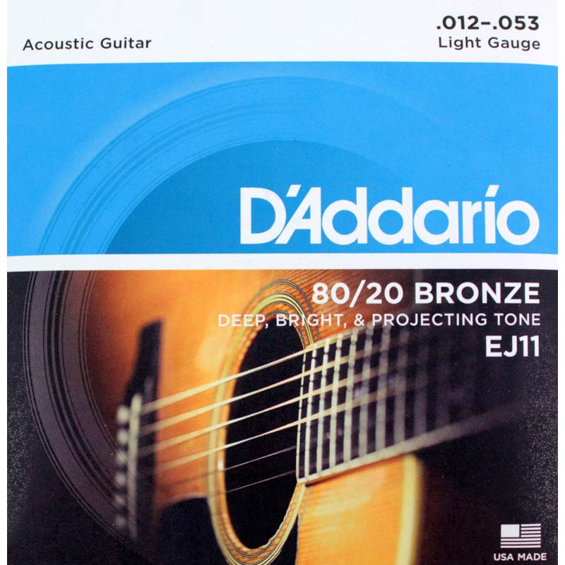 ダダリオ ライトゲージ 80 20ブロンズ ブラス 贈答品 弦 Light アコースティックギター弦 D'Addario 超人気 Bronze EJ11