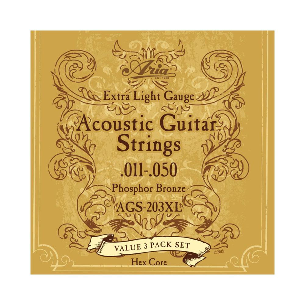 アリア フォークギター弦 正規激安 エクストラライトゲージ ARIA 3セットパック アコースティックギター弦 AGS-203XL 予約販売