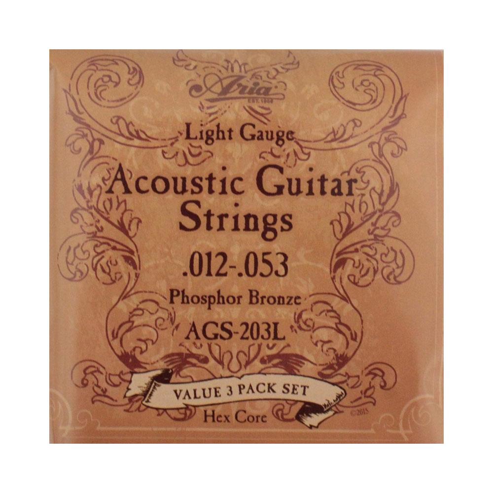 格安 アリア フォークギター弦 ライトゲージ ARIA AGS-203L アコースティックギター弦 卸直営 3セットパック