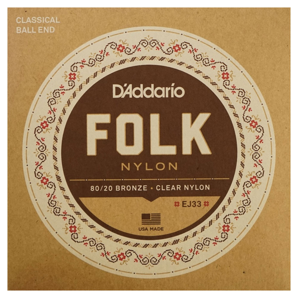 D'Addario FOLK NYLON EJ33×10SET ボールエンド付きクラシックギター弦