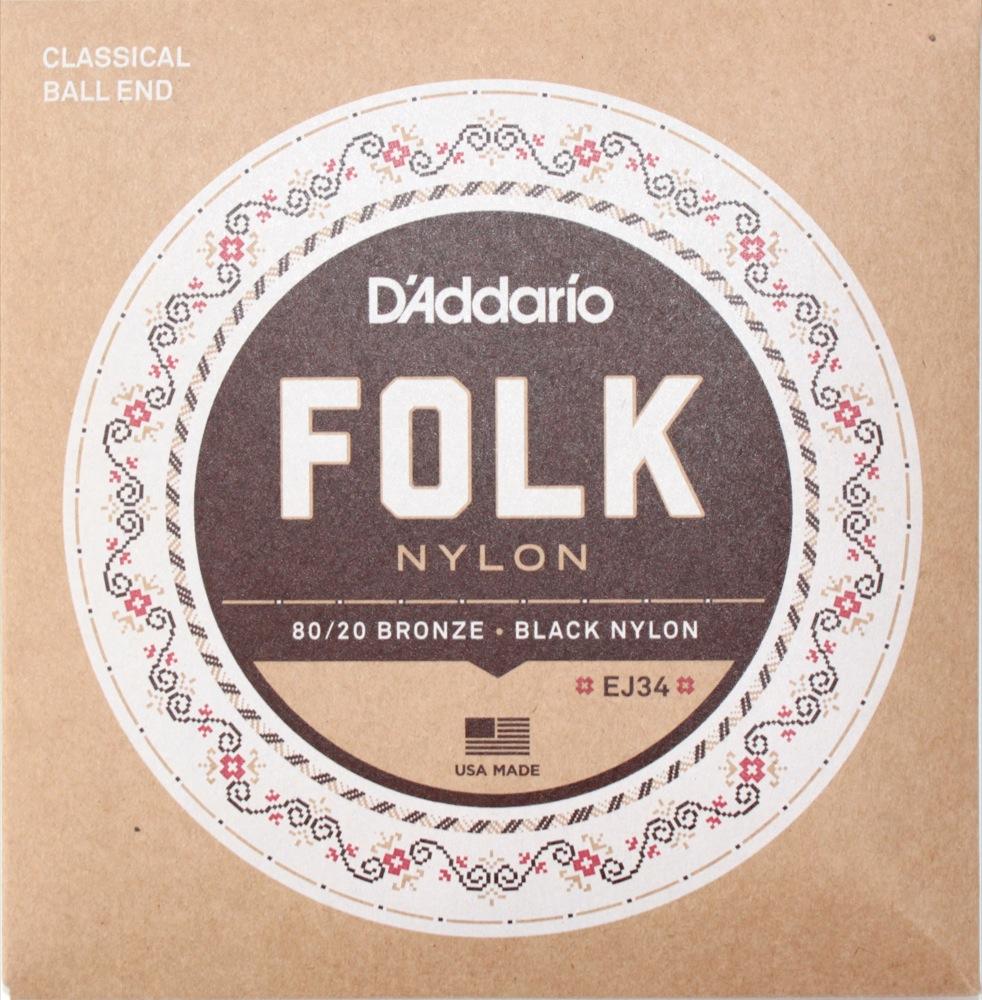 D'Addario FOLK NYLON EJ34×10SET ボールエンド付きクラシックギター弦