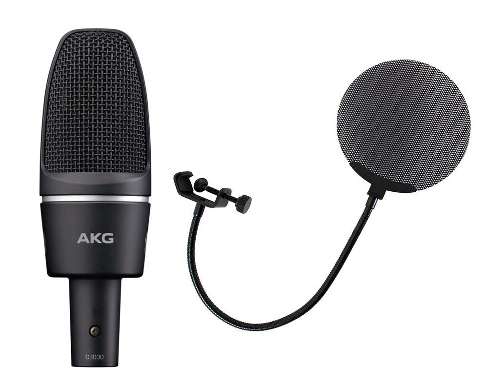 AKG C3000 メタルポップフィルター付き コンデンサーマイク