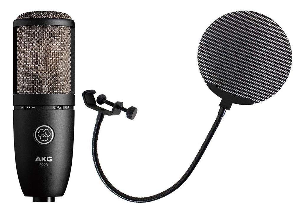 AKG P220 Project Studio Line メタルポップフィルター付き コンデンサーマイクロフォン
