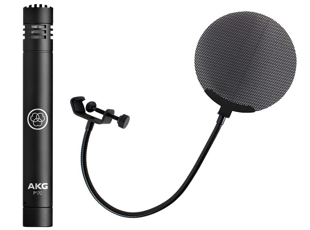 AKG P170 Project Studio Line メタルポップフィルター付き ペンシル型 コンデンサーマイクロフォン