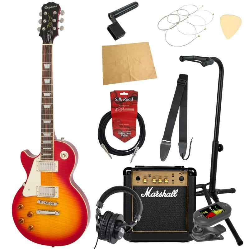 エピフォンから始める!大人の入門セット Epiphone Les Paul Standard PlusTop PRO Left-Hand HS エレキギター Marshallアンプ付 11点セット