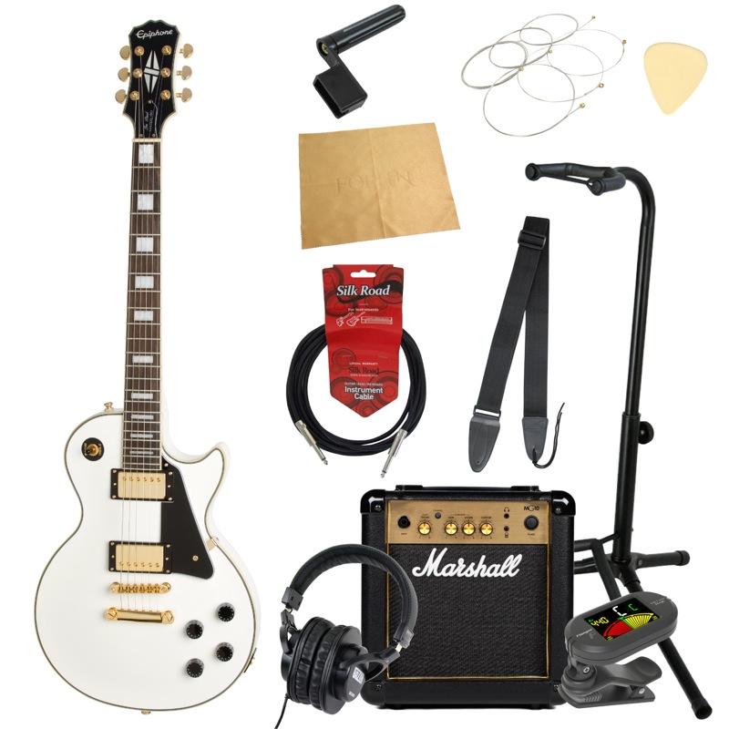 エピフォンから始める!大人の入門セット Epiphone Les Paul Custom PRO AW エレキギター Marshallアンプ付 11点セット