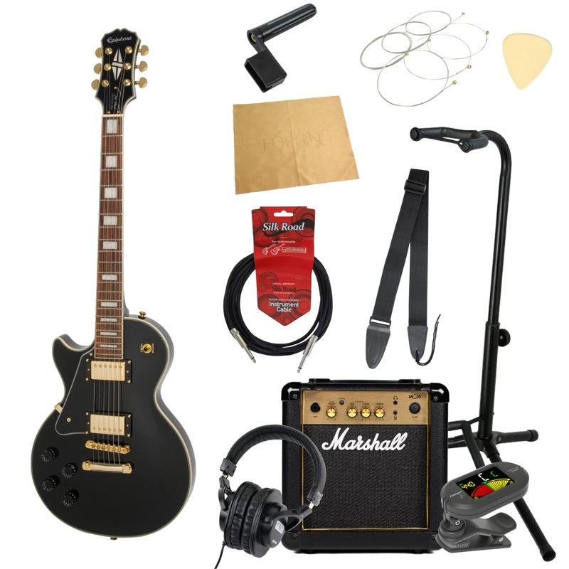 エピフォンから始める!大人の入門セット Epiphone Les Paul Custom PRO Left-Hand EB エレキギター Marshallアンプ付 11点セット