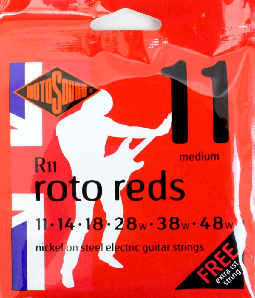 ロトサウンド エレキギター弦 11-48 ミディアムゲージ ROTOSOUND ROT-R11 Roto Reds Medium エレキギター弦×12SET