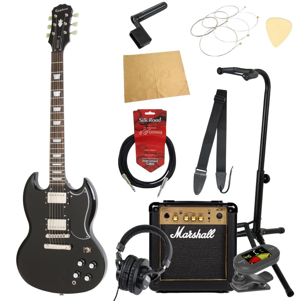エピフォンから始める!大人の入門セット Epiphone G-400 Pro EB エレキギター Marshallアンプ付 11点セット