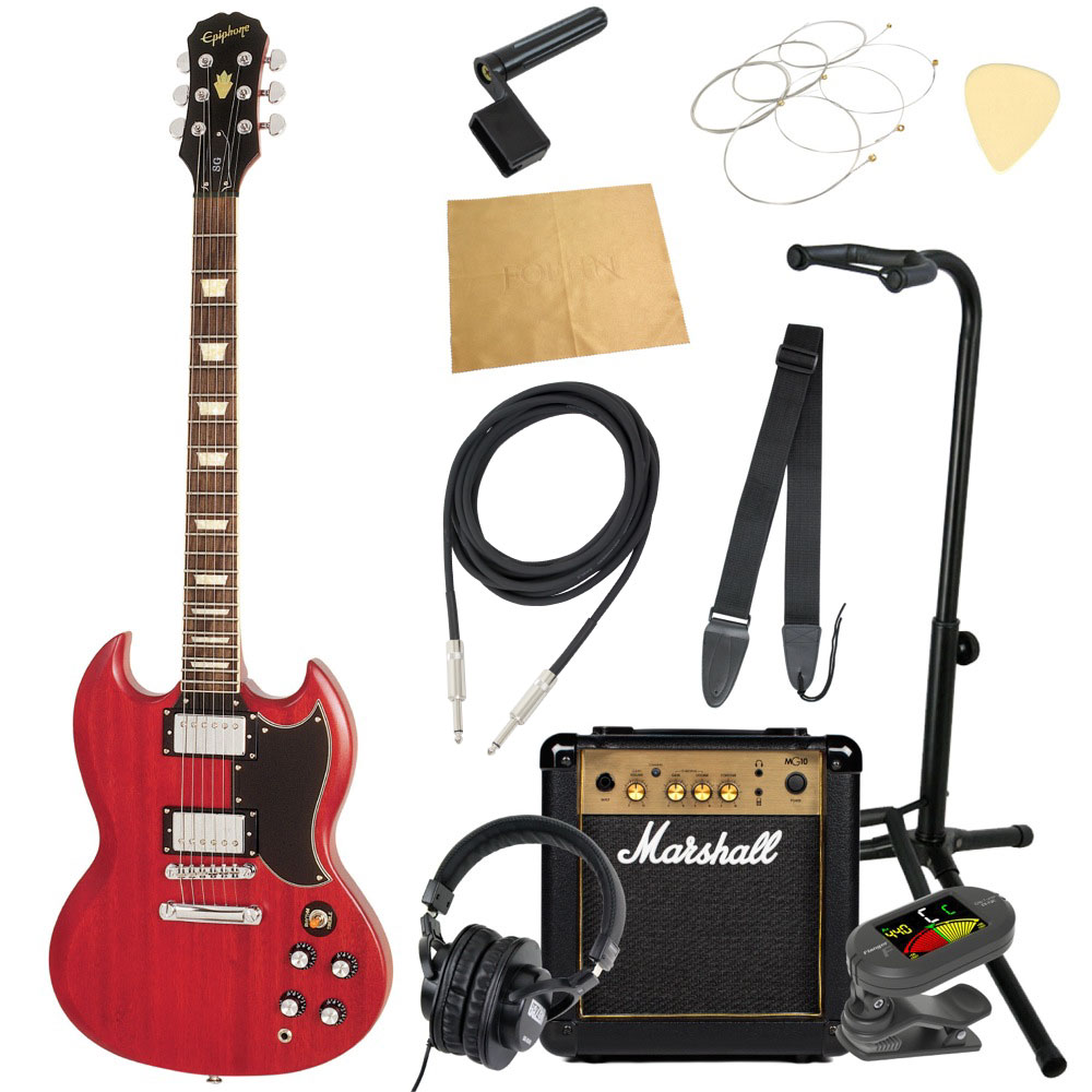 エピフォンから始める!大人の入門セット Epiphone WORN G-400 WC エレキギター Marshallアンプ付 11点セット