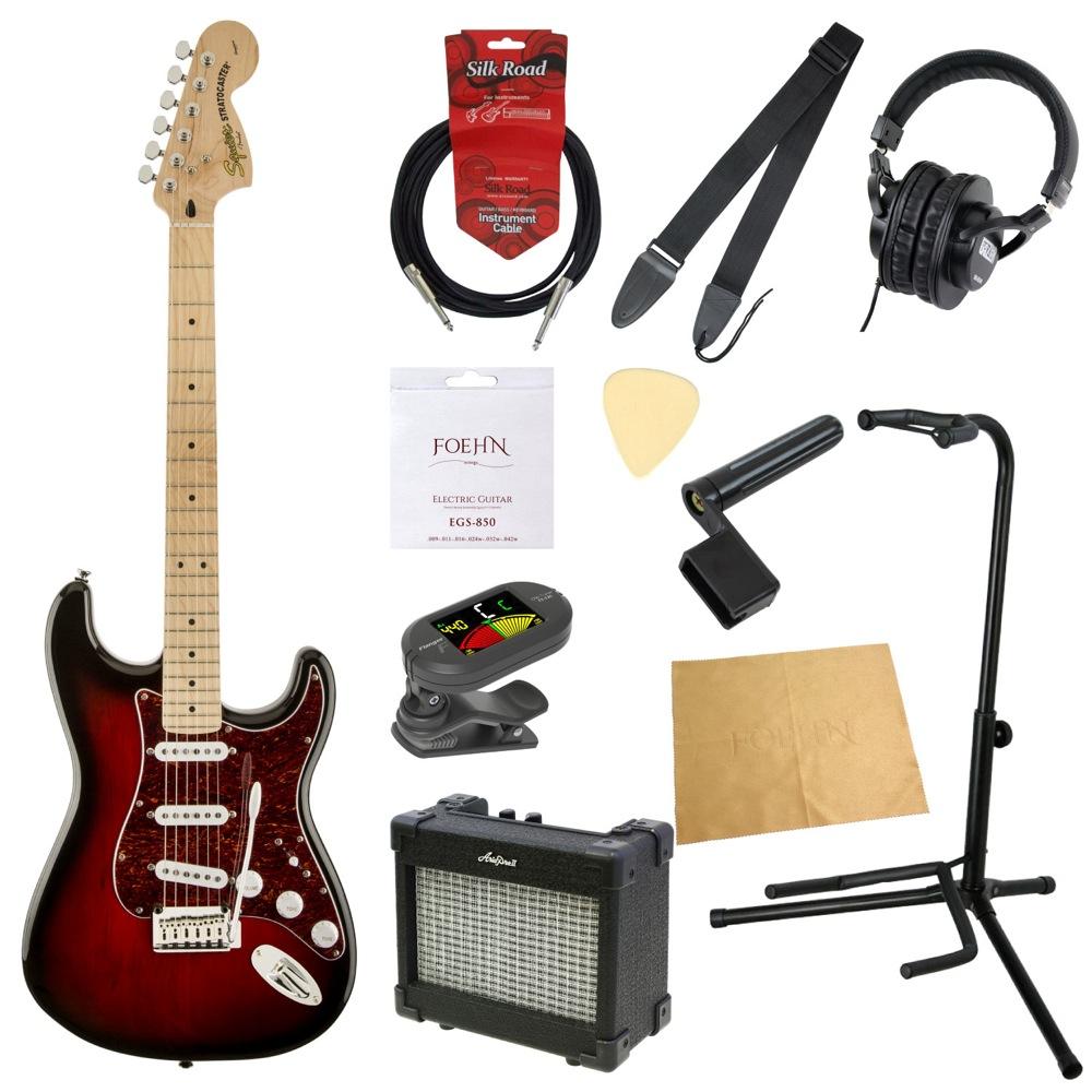 エレキギター入門11点セット Squier Standard Stratocaster ATB/M TORT