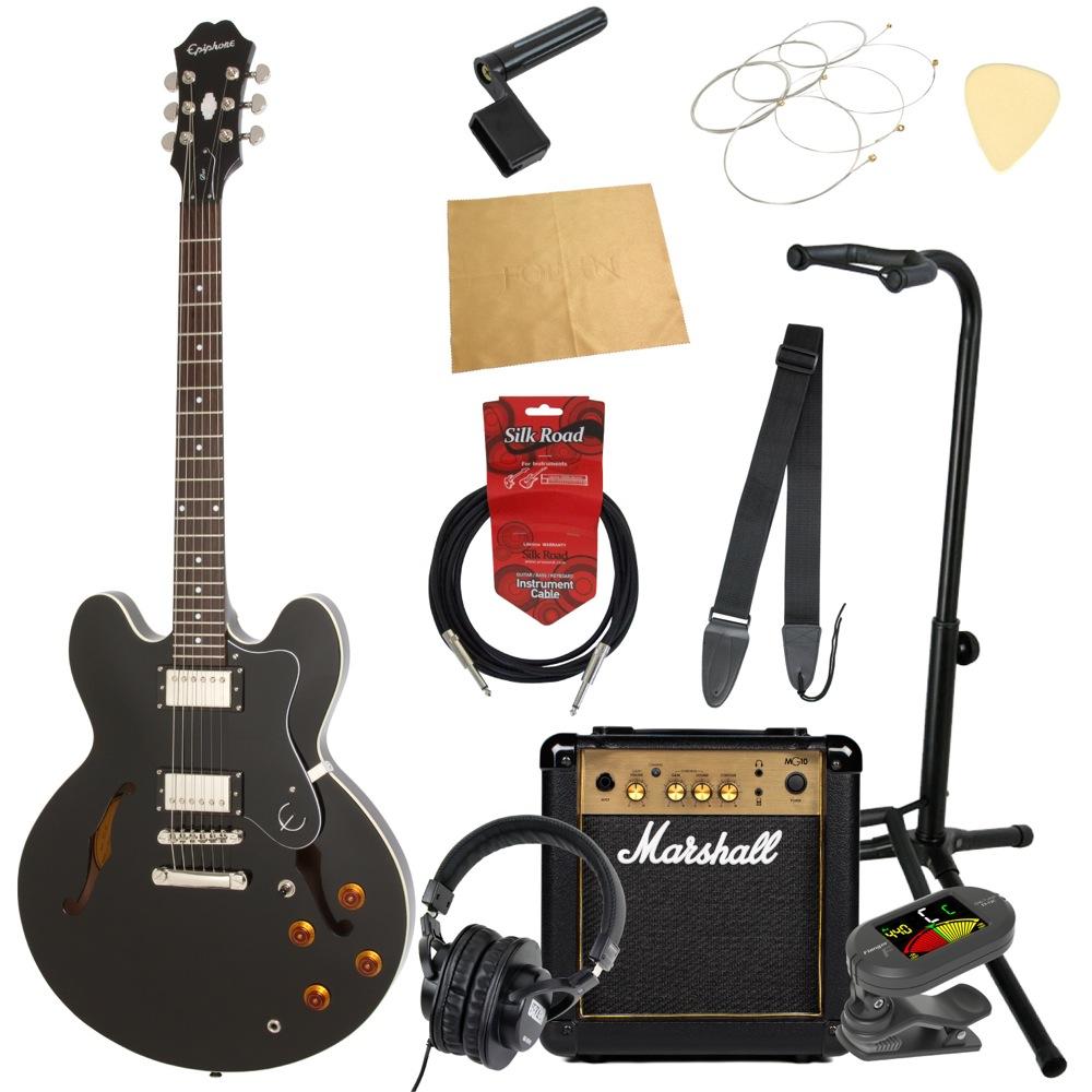 エピフォンから始める!大人の入門セット Epiphone DOT EB エレキギター Marshallアンプ付 11点セット