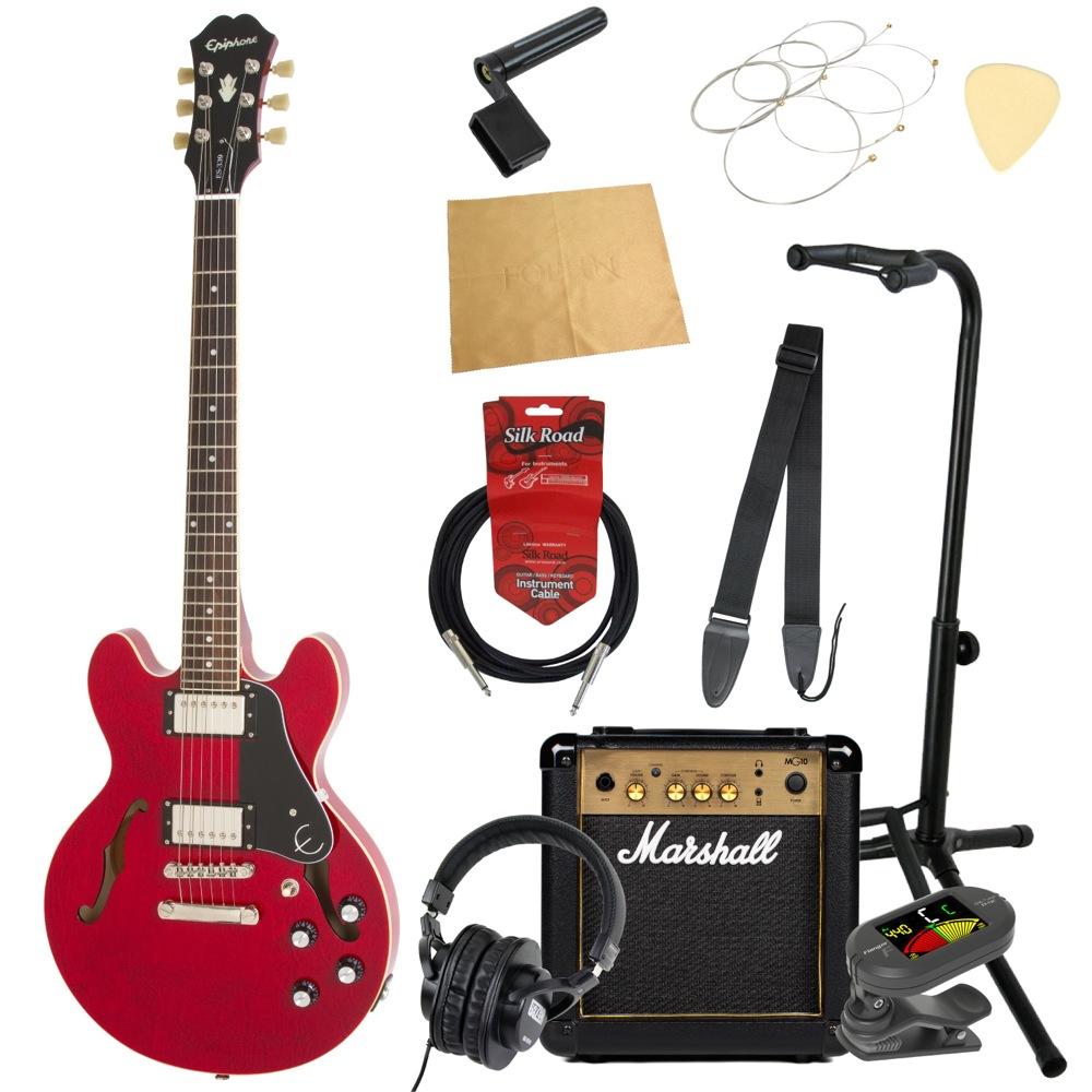 エピフォンから始める!大人の入門セット Epiphone ES-339 Pro CH エレキギター Marshallアンプ付 11点セット