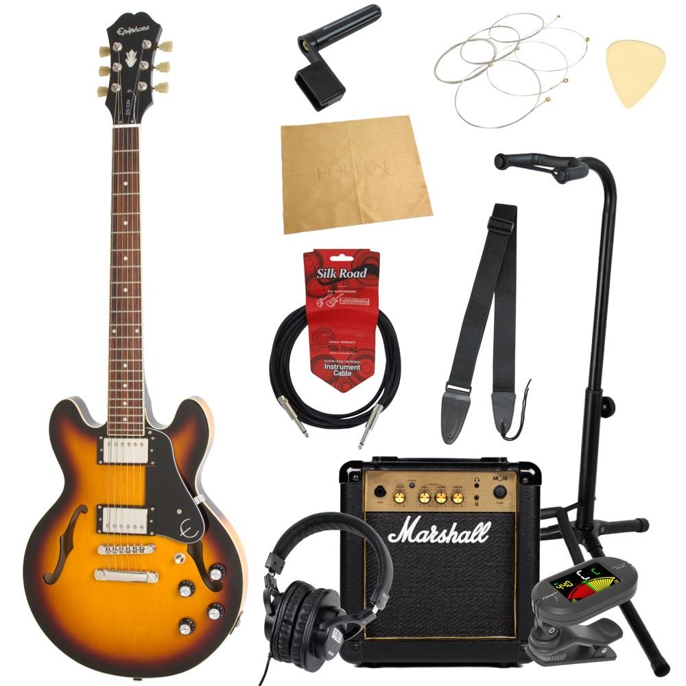 エピフォンから始める!大人の入門セット Epiphone ES-339 Pro VS エレキギター Marshallアンプ付 11点セット