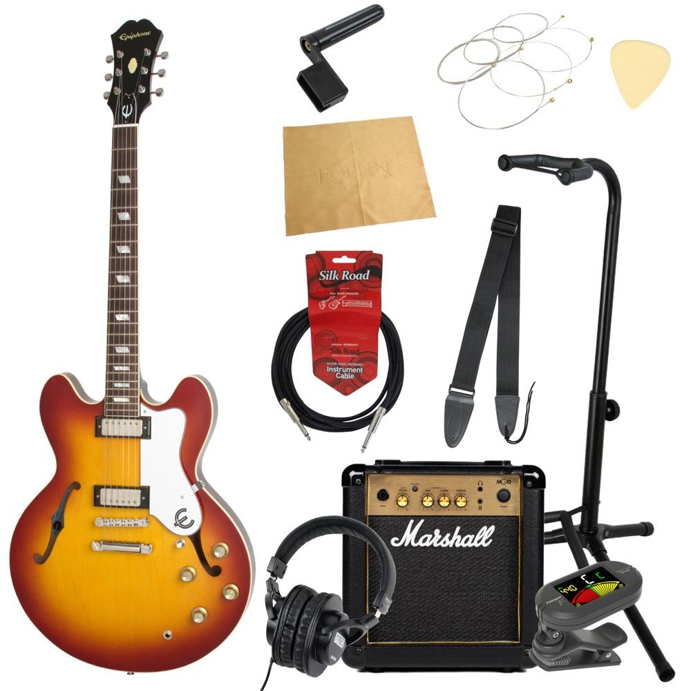 エピフォンから始める!大人の入門セット Epiphone Limited Edition Elitist 1966 Custom Riviera HB エレキギター Marshallアンプ付 11点セット