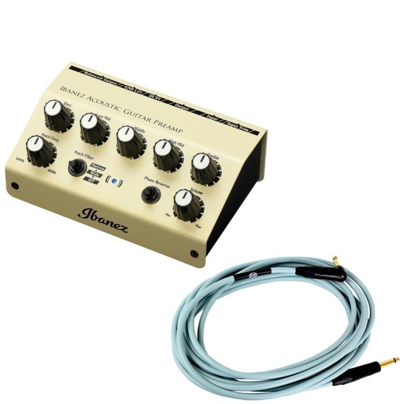 IBANEZ AGP10 アコースティックギター用プリアンプ KAMINARI K-AC5LS アコースティックギター専用ケーブル付きセット