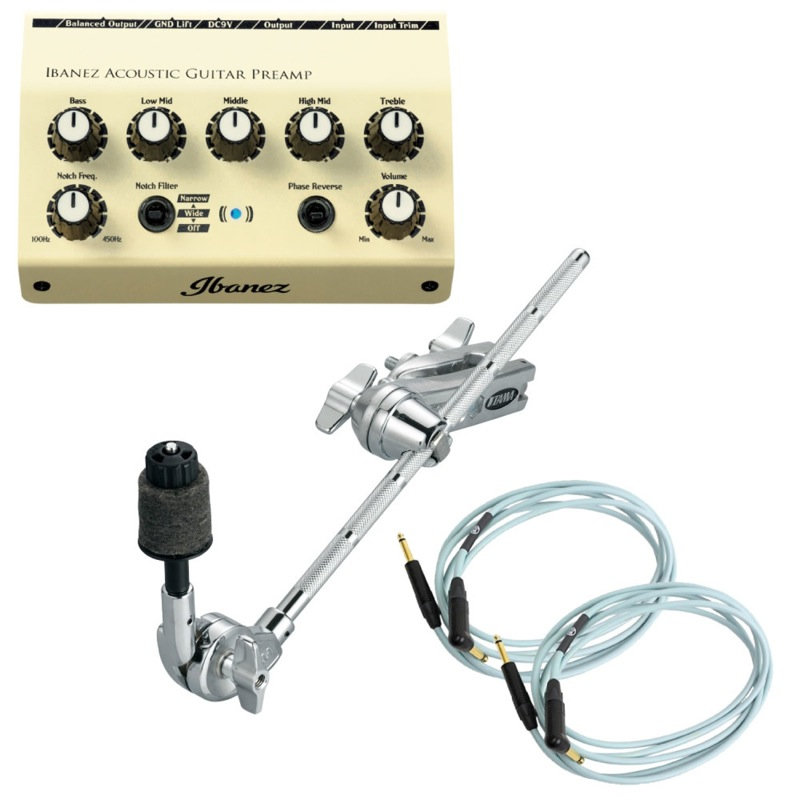 IBANEZ AGP10 アコースティックギター用プリアンプ 取り付けクランプ TAMA MCA53 アコギ専用ケーブル 3m KAMINARI K-AC3LS 3点セット