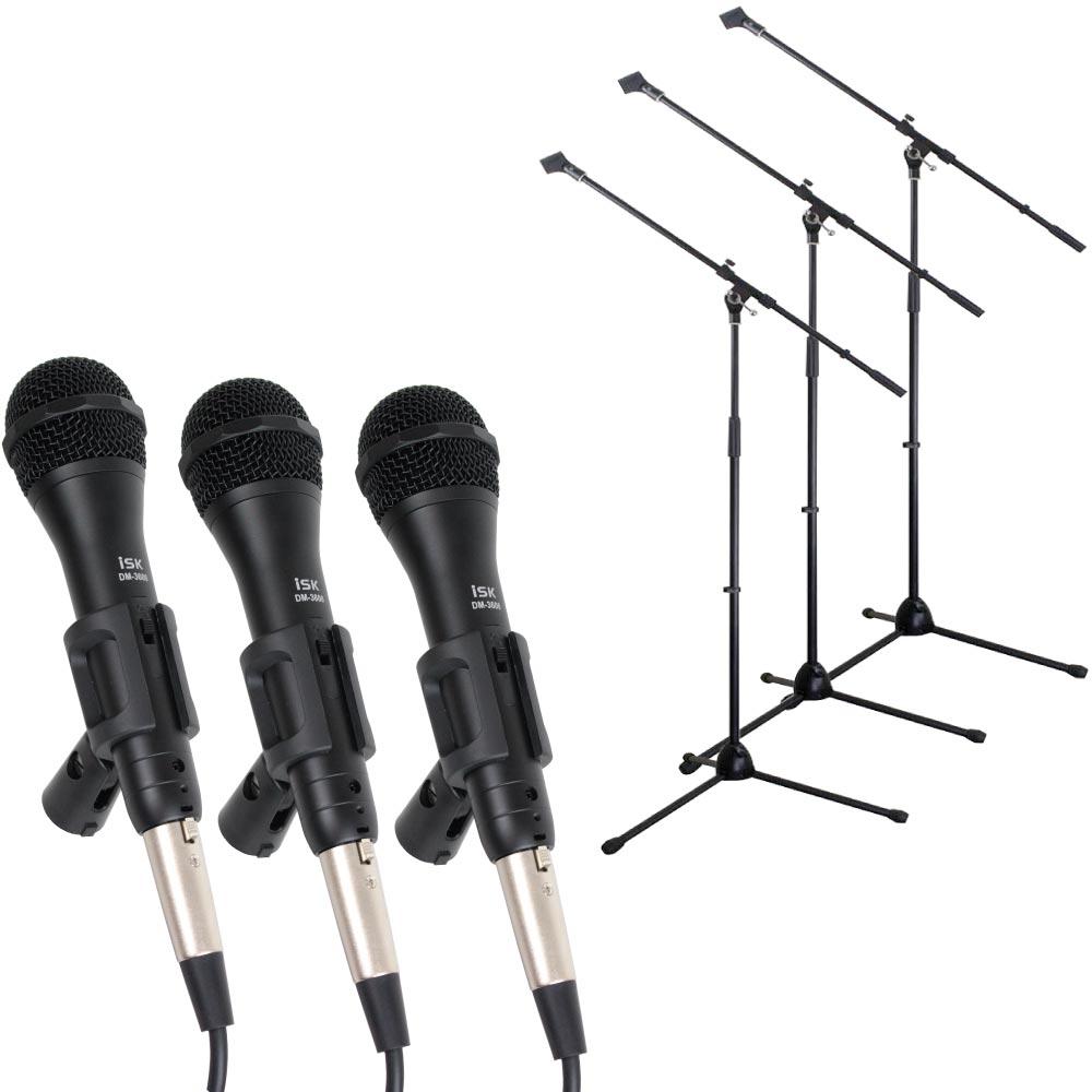 【多目的に使えるマイクセット】 iSK DM-3600 ボーカル用 ダイナミックマイク 5mケーブル付き ブーム/ストレート兼用マイクスタンドセット×3セット
