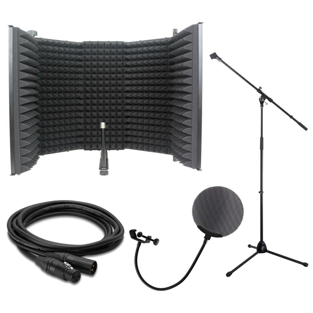 iSK RF-1 リフレクションフィルター Dicon Audio MS-003 マイクスタンド Dicon Audio DCP-2 メタルポップフィルター Hosa CMK-020AU 6m ノイトリックプラグ マイクケーブル 4点セット