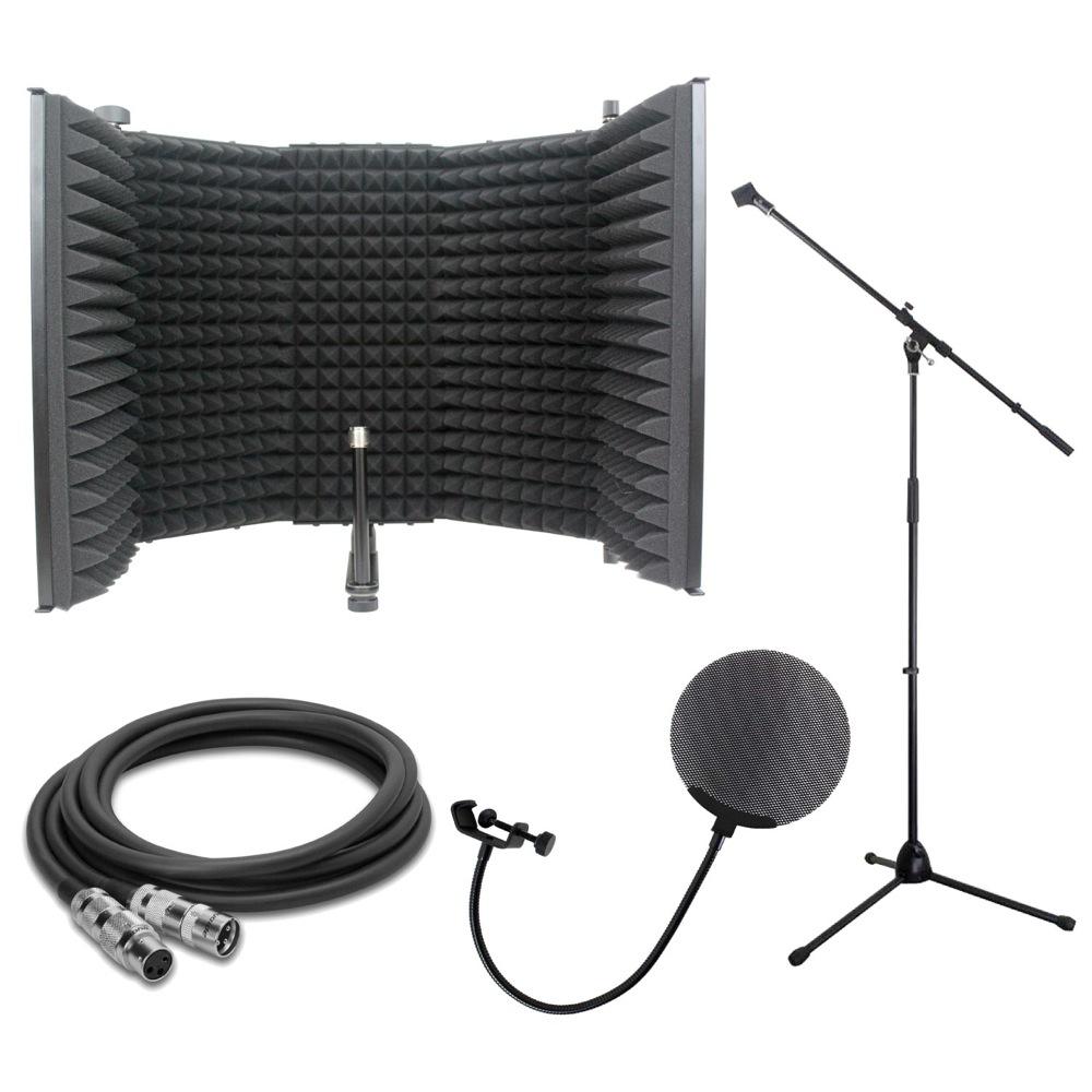 iSK RF-1 リフレクションフィルター Dicon Audio MS-003 マイクスタンド Dicon Audio DCP-2 メタルポップフィルター Zaolla ZMC-110 10ft マイクケーブル 4点セット