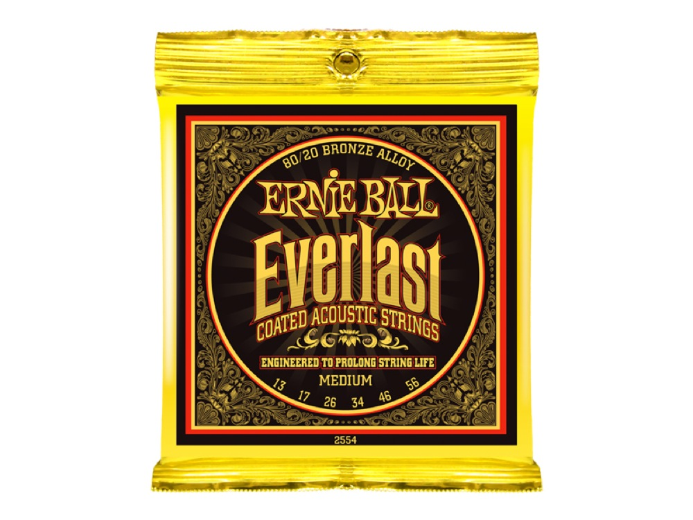 ERNIE BALL 2554 Everlast Coated 80/20 BRONZE ALLOY MEDIUM アコースティックギター弦×12SET