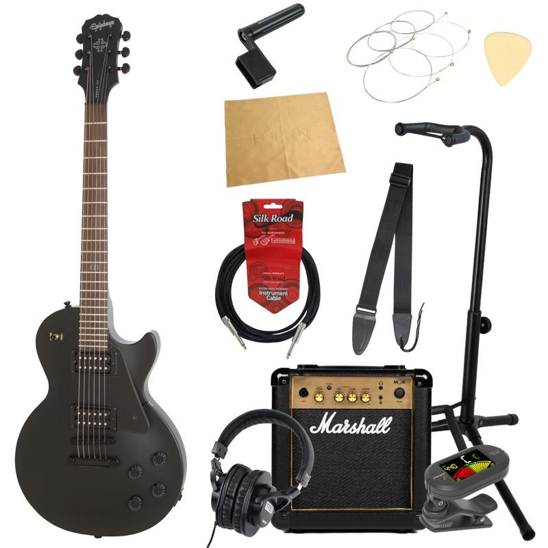 エピフォンから始める!大人の入門セット Epiphone Les Paul Studio Goth PB Stain エレキギター Marshallアンプ付 11点セット
