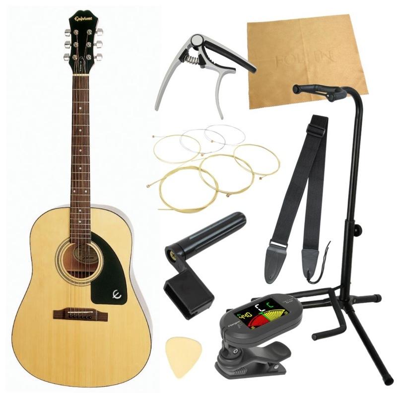 エピフォンから始める!大人のアコギ入門セット Epiphone AJ-100 NA アコースティックギター 9点セット