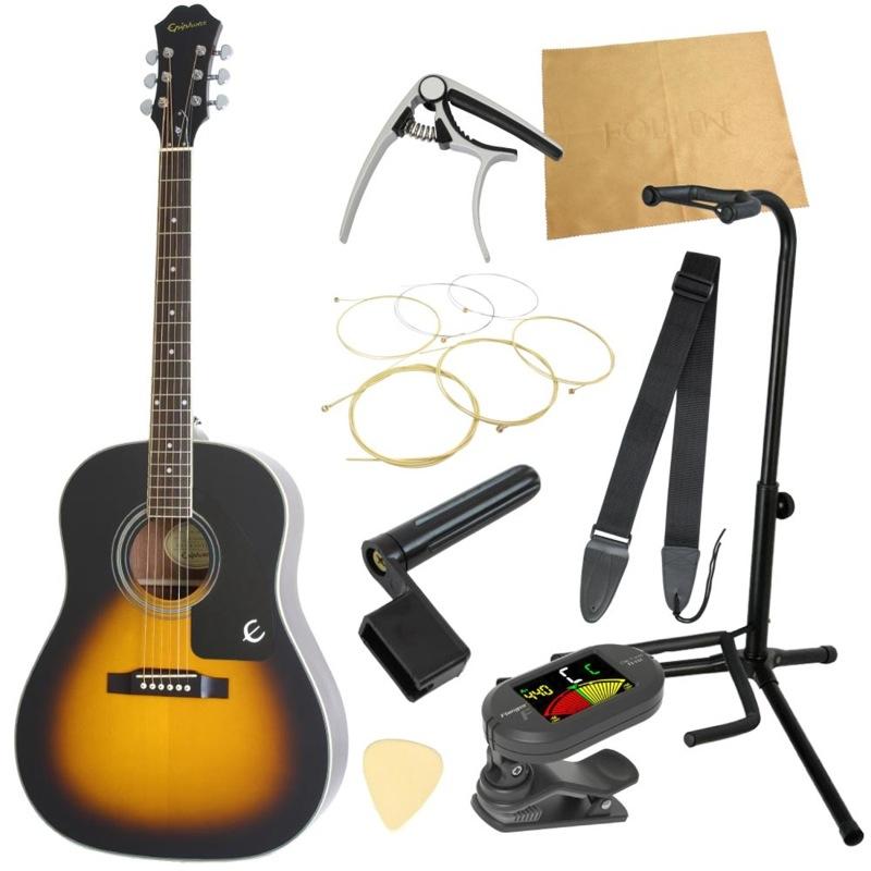 エピフォンから始める!大人のアコギ入門セット Epiphone AJ-100 VS アコースティックギター 9点セット