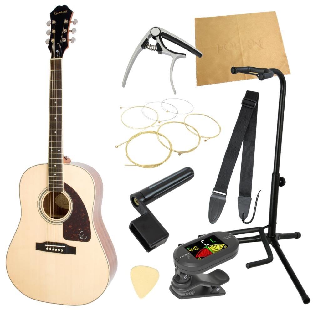 エピフォンから始める!大人のアコギ入門セット Epiphone AJ-220S NA アコースティックギター 9点セット