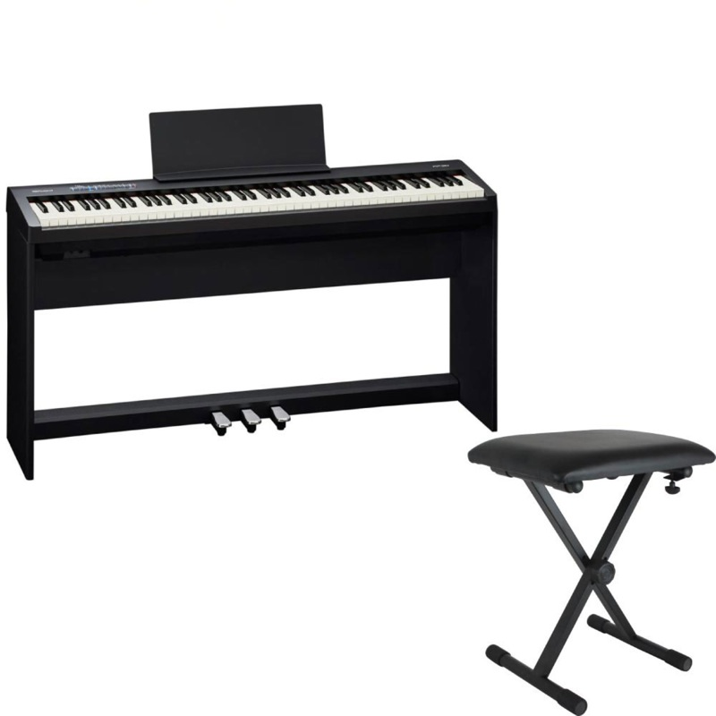 ROLAND FP-30 BK 電子ピアノ 純正スタンド ペダルユニット X型イス付きセット