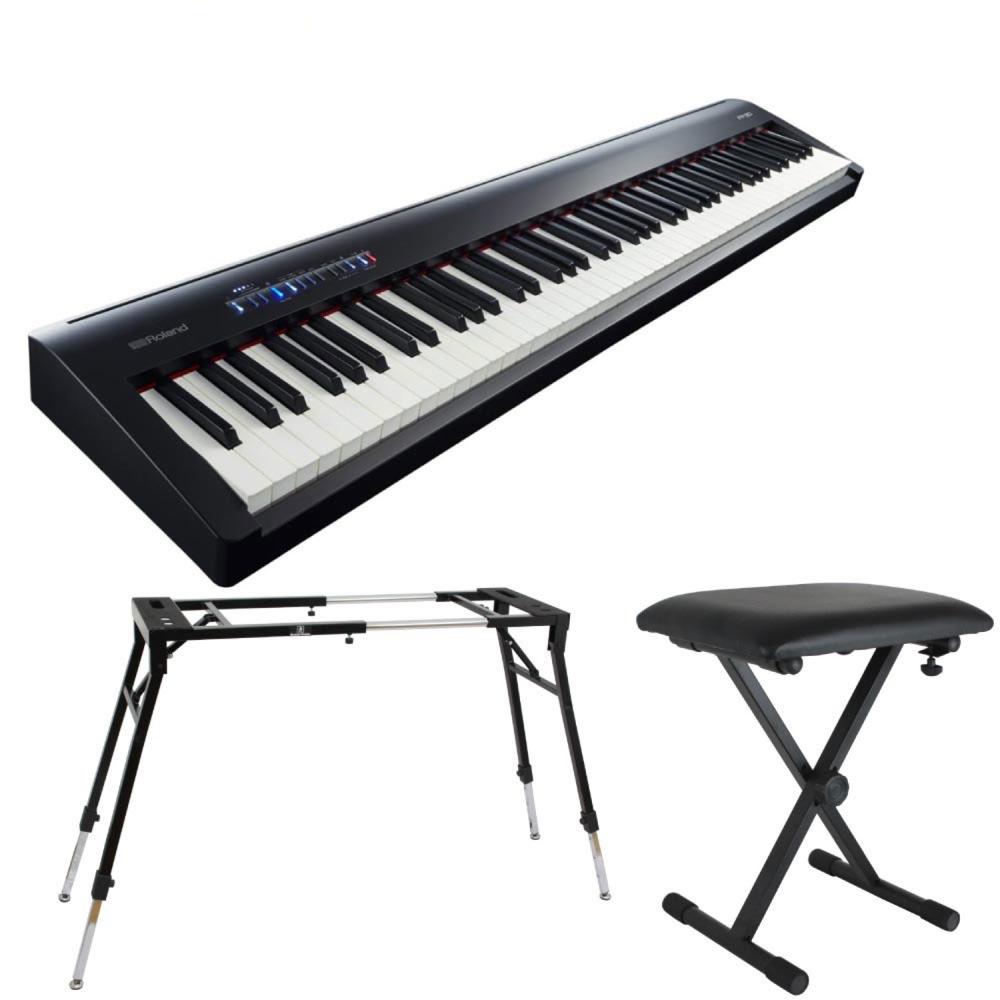 ROLAND FP-30 BK 電子ピアノ 4本脚スタンド X型イス付きセット