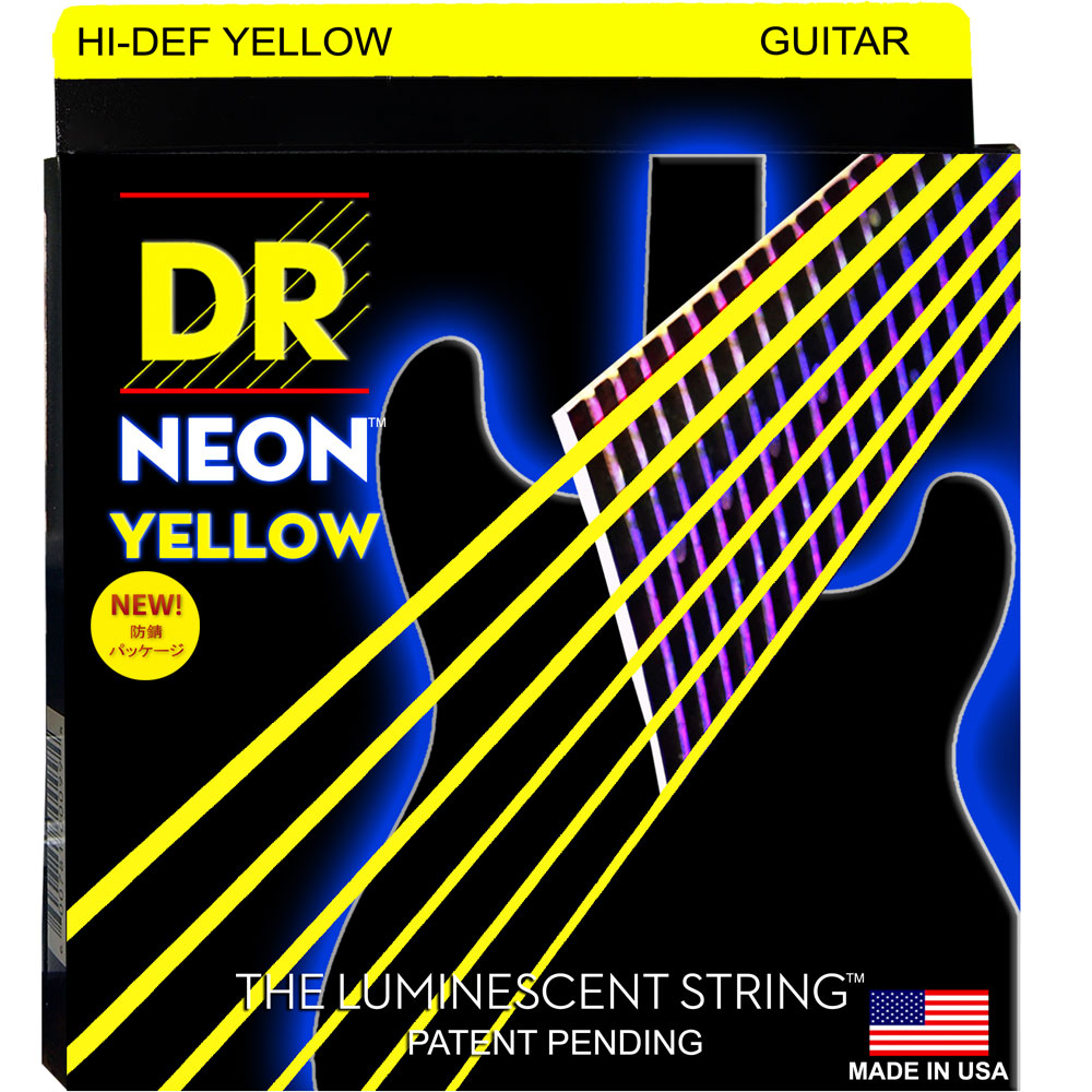 DR NEON Hi-Def YELLOW NYE-9 LITE エレキギター弦×6セット