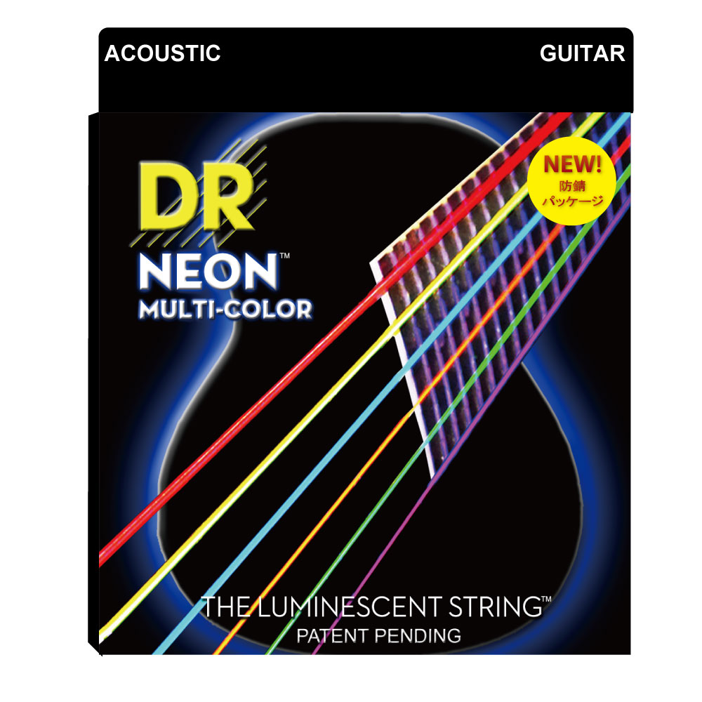 DR NEON MULTI COLOR NMCA-2/11 MEDIUM LITE 2PACK アコースティックギター弦 2セット入り×12セット
