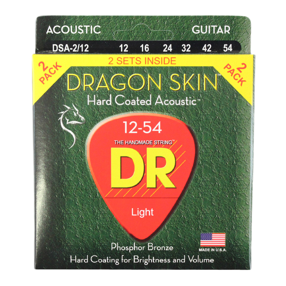 DR DRAGON SKIN DSA-2/12 MEDIUM 2PACK アコースティックギター弦 2セット入り×12セット