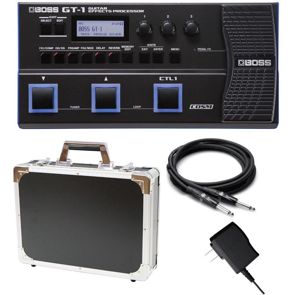 BOSS GT-1 マルチエフェクター Dicon Audio エフェクターケース 純正アダプター HOSA ギターケーブル3m 4点セット
